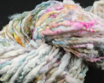 Handspun art yarn Polwarth wrapped with silk, 3.3 oz, 52 yards