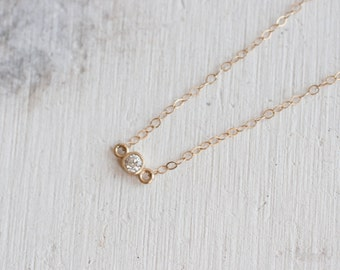 Petite White Diamond Necklace | 14k Recycled Gold