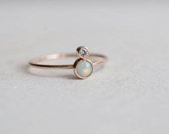 White Australian Opal and Diamond Ring | Solid 14k Recycled Gold | Genuine Opal | October Birthstone Ring