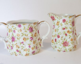 Creamer and Sugar Bowl vintage floral set
