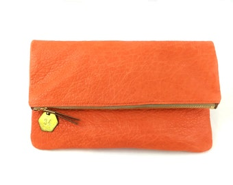 Foldover Leather Clutch - Orange Distressed Leather