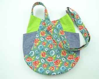 Pretty Floral Cotton Fabric Tote, School Bag, Women's Bag, Fabric Tote Bag, Handmade Tote Bag