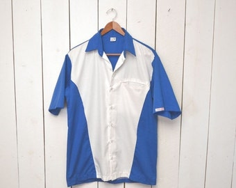 Color Block Button Up Mens Mid Century Blue White Rockabilly Bowling Style Short Sleeve Oxford Small Medium