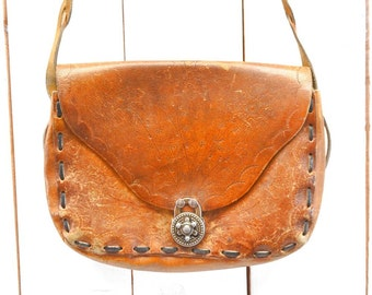 Tooled Leather Bag 1970s Vintage Cross Body Shoulder Bag Light Brown Distressed Floral Motif