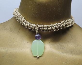 SALE Jade green serpentine and purple amethyst gemstone stone choker necklace made with hemp.  HCK-890