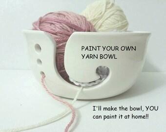 DIY Paint Your Own Yarn Bowl Handmade Ceramic from my Charleston, SC studio