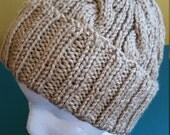 Beige/Tan Cable Hand-Knit Hat. Super soft, for men or women- Ready to be Shipped