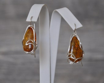 HandCrafted Natural Baltic Amber  Earrings