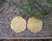 Shell earrings, Philippines, large shell earrings, yellow shell earrings, flower shell, boho earrings, Montana, five dollars