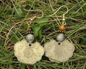 five dollar earrings, Chinese zodiac earrings, zodiac, Montana, brass earrings, dragon earrings, dragon, boho earrings, tiger eye