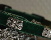 Silva- Emerald green velvet Cat Collar w/clear swarovski crystals - unique handmade breakaway pet collar