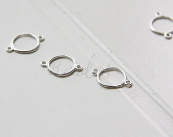 One Piece / S925 Sterling Silver / Connector / Organic Circle (4156)