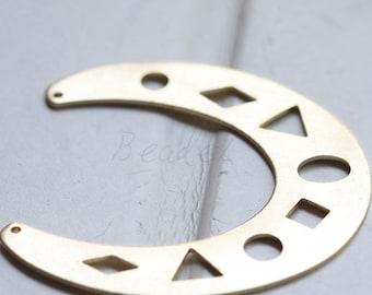 4 Pieces / Raw Brass / Brass Base / Filigree / Crescent / Geometry / Link (C3092//P422//)