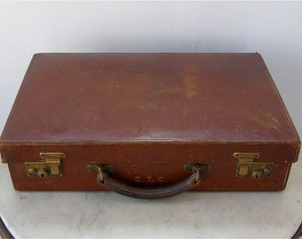 ENGLISH LEATHER SUITCASE Travel Case Briefcase Brass Snap Closure Edwardian Hard Suitcase Luggage Clean Leather Lined Vintage 1920's