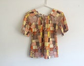 1970s patchwork bell sleeve peasant / hippie blouse tunic top