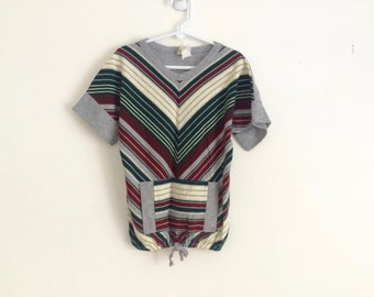 1970s girls chevron striped cap sleeve tunic / sporty / comfy / cozy