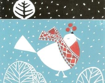 Winter Snow Bird Print - Christmas Limited Edition Linocut of 6 Linocuts - Rare Lino Print  - Printmaking Art Gift -  Artist Print