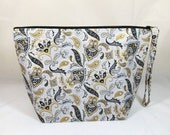 Knitting Project Bag - Large Zipper Wedge Bag in Silver/Gold/Black Paisley Fabric with Silver/Gray Chevron Cotton Lining