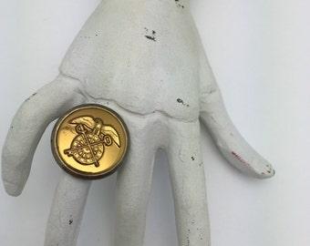 Vintage US Army Ring Military Officer Ring World War II quartermaster pin ring eagle key sword