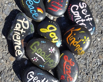 9 FRUIT of the SPIRIT Rocks - hand painted and sealed for garden, planter, office, etc.