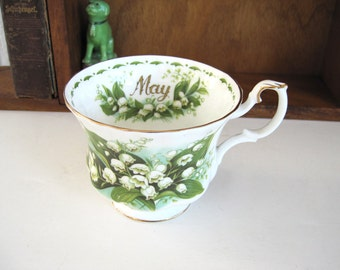 Vintage Tea Cup Flower of the Month Series  Lily of the Valley May Royal Albert Floral Wedding Bridal Shower Hostess Gift