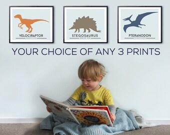 Toddlers room decor, DINOSAUR prints, big boys wall art. Set of 3, Dinosaur nursery decor, playrooms, graphic art, kids rooms