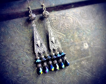 Gypsy Daughter, chandelier earrings, tribal fusion bellydance, bohemian, boho chic, gypsy witch, pagan, fairy, faerie, dark fusion, tribal