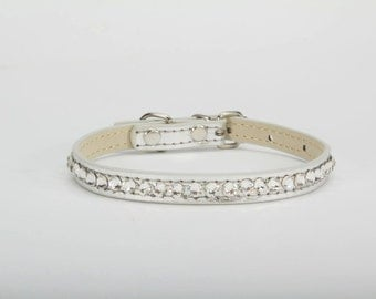 Swarovski Crystal Dog Collar - Crystal Dog Collar -Silver Dog Collar - Doggie Walkies -Silver Crystal Couture Dog Collar - Swarovski Crystal