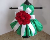 Dog Dress  XS Green with red rose   By Nina's Couture Closet