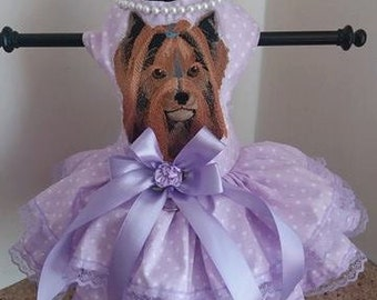 Dog Dress  Lavender Yorkie