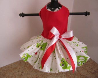 Dog Dress  XSRed with Frogs  By Nina's Couture Closet