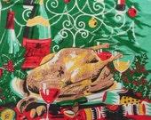 Christmas Greetings Irish Linen Dish Towel, Christmas Tea Towel, Aqua Green Red Tea Towel, Roast Turkey, Champagne, Candelabra, Red Candles