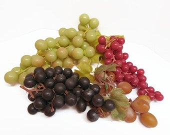 Mid Century Rubber Grape Bunches / Rubber Grape Clusters