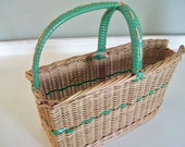 Vintage Wicker Wine Basket Bottle Holder / Carrier - Green Trim - French Cottage Chic - Aged Patina