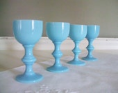 Vintage Blue Glass Cordial Set Mini Goblets - Set Of Four - Hand Blown Robins Egg Blue Glass