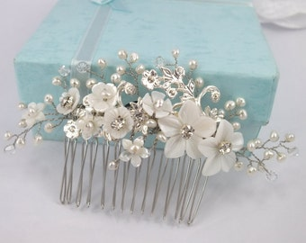 Pearl Dream-Vintage Style Mother Pearl Flower,Freshwater Peral  and Swarovski Crystal Bridal Comb