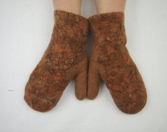 Felted mittens Merino Wool Hazel