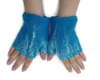 Short Felted Fingerless Gloves Fingerless Mittens Arm warmers Wristlets Merino Wool Turquoise