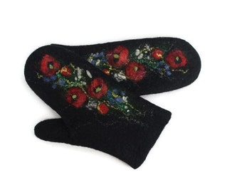 Felted Mittens Wool  Black  Red poppies Floral