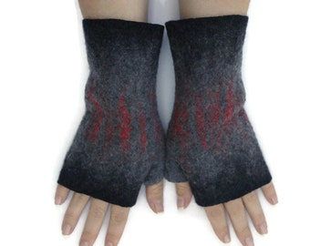 Felted Fingerless Gloves Fingerless Mittens Arm warmers Wristlets Merino Wool Black Gray, Red