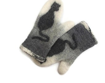 Felted Mittens Merino Wool  Gray Black Cat