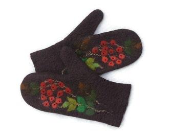 Felted mittens Merino Wool Dark Brown