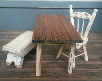 Dollhouse Miniature, Miniatures Farm Table, Primitive Farm Table, Primitives, Miniatures, Dollhouse, Harvest Table, Rustic Miniatures