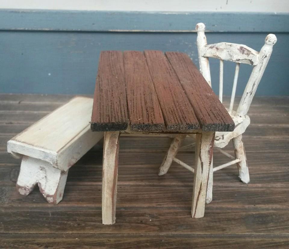 Dollhouse Miniature Miniatures Farm Table Primitive Farm