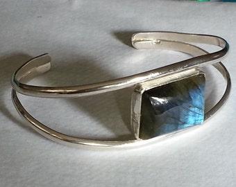 Labradorite Cuff Bracelet Sterling Silver