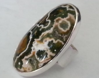 Ocean Jasper Size #7.5 Sterling Silver