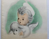 Vintage 1940s Young angel with Lamb Christmas card