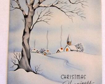 1940s Vintage  Winter Scene Christmas card