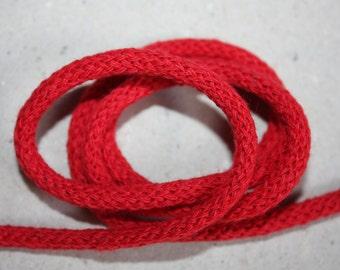 5 mm RED Cotton Rope = 5 Yards = 4.57 Meters of Elegant Cotton Braided Cord -Bulky Yarn-Super Bulky Yarn-Macrame Cotton Cord-Crochet Yarn
