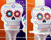 Sugar Skull favor box Mod.3 - Day of the Dead party, Halloween Birthday party, Sugar Skull Decorations| Printable | INSTANT DOWNLOAD